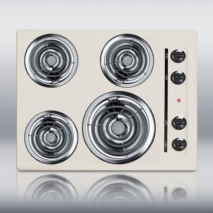 """SEL03 24"""" Coil Electric Cooktop With 4 Coil Elements Porcelain Top One 8"""" And 3 6"""" Coil Burners U.L. Approved Chrome Drip Bowls Recessed Top"""