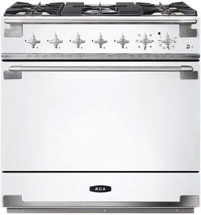 AEL36DF-WHT 36″ Elise White Dual Fuel Natural Gas Range with 4.5 cu. ft. Capacity  Dual Broiler System  5 Sealed Solid Brass Burners  Continuous Cast