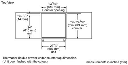 Thermador  T24UR90D Drawer Refrigerator Stainless Steel, Diagram