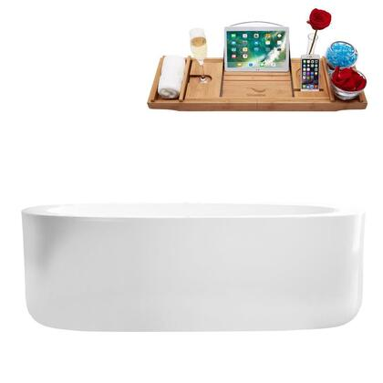 M-2120-67FSWH-FM 67″ Soaking Freestanding Tub and tray With Internal Drain in