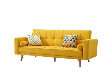 116SOFABEDYELLOW 83″ Sofa Bed with Tufting Details  Track Arms and Fabric Upholstery in