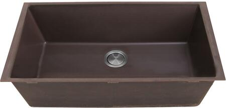 PR3320-BR-UM Plymouth Collection 33″ Undermount Sink with Single Bowl  Rectangular Shape  Sound Absorption  Stain Resistant and Granite Composite