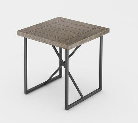 Signature Home Collection FT24IETCG X-End Table with Textured  Powder Coated Metal Frame   Thick MDF Top and Easy Assembly in Coastal