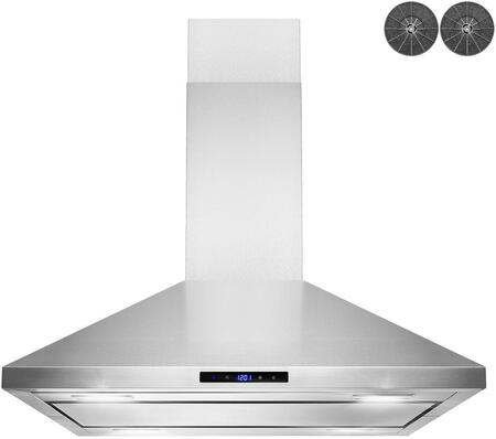 RH0465 30″ Convertible Island Mount Range Hood with 299 CFM  LED Lighting  Mesh Filters and Touch Controls in Stainless