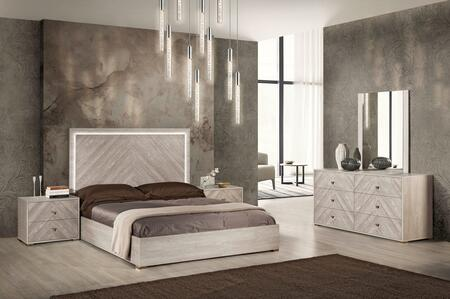 Florence Collection FLORE-KG5PCSET-WOM-25 5-Piece Bedroom Set with King Bed  2x Nightstands  Dresser and Mirror in Whitened Oak Matt