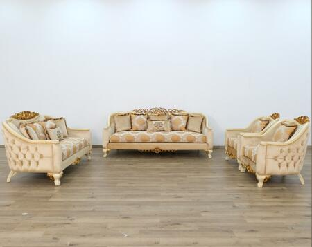 European Furniture Angelica 45352SLC Living Room Set Beige, Main Image