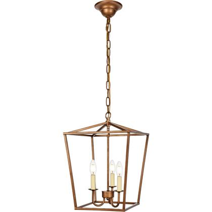 LD6008D12G Maddox 3 Light 13 inch Vintage Gold Pendant Ceiling