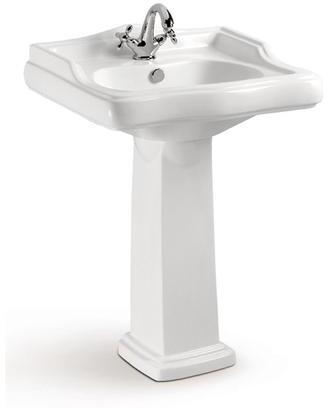 3-2081WH Riviera Pedestal  1 Faucet Hole With Overflow Chrome