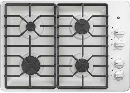 GE JGP3530DLWW 30 Inch Gas Max System, Power Boil, Simmer, Continuous, Dishwasher Safe Grates, Deep Recessed Cooktop, 4 Sealed Burners and ADA Compliant