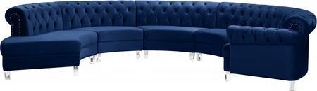 Meridian Anabella 697NAVYSEC5PC Sectional Sofa Blue, 697NAVYSEC5PC Main Image