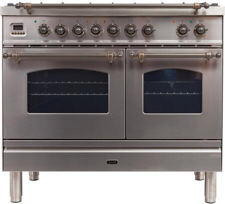 Ilve Nostalgie UPDN100FDMPIY Freestanding Dual Fuel Range Stainless Steel, UPDN100FDMPIY Dual Fuel Range