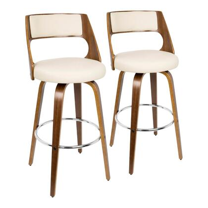 Cecina Collection B30-CECINARWLCR2 Set of 2 Bar Height Stool with 360-Degree Swivel Seat  Mid-Century Modern Style  Curved Wood Frame  Pu Leather