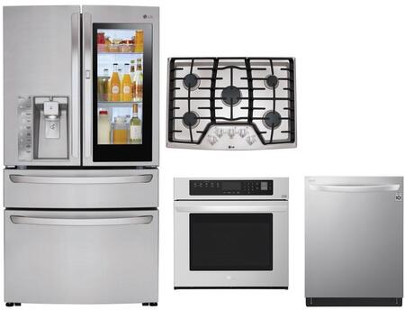 4 Piece Kitchen Appliances Package with LMXC23796S 36″ French Door Refrigerator  LWS3063ST 30″ Electric Single Wall Oven  LCG3011ST 30″ Gas Cooktop