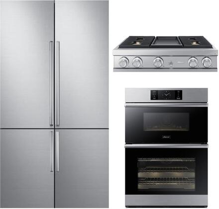 3 Piece Kitchen Appliances Package with DRF427500AP 42″ French Door Refrigerator  DOC30M977DS 30″ Electric Double Wall Steam Oven/Microwave Combo and