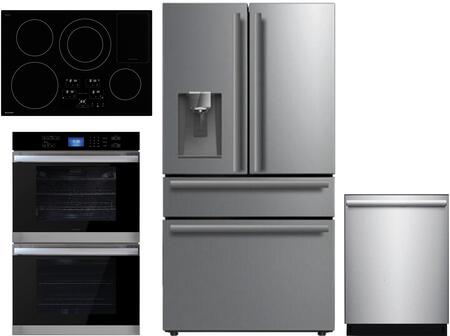 4 Piece Kitchen Appliances Package with SJG2254FS 36″ Counter Depth 4 Door French Door Refrigerator  SWB3052DS 30″ Electric Double Wall Oven