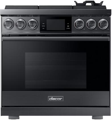 Dacor Contemporary DOP36M96GLM Freestanding Gas Range Graphite Stainless Steel, Front View