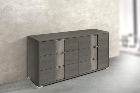 Portofino PORTOF-DRS-AMGR-42 61″ Dresser with 6 Soft Closing Drawers  Velvet Accents and Silver Metal Hardware in Anthracite Matte Grey