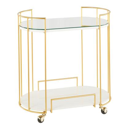Canary Collection BTC-CNRYAU+WMB Bar Cart with Gold Frame  Glam/Contemporary Style and Cage-Like Gold Tone Metal Base in Gold and White