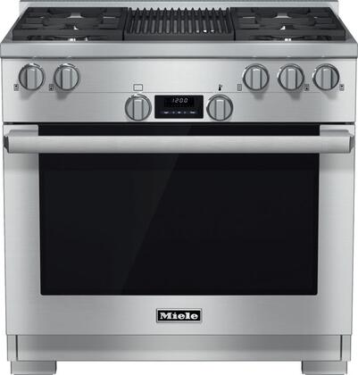 Miele DirectSelect HR1135LPGR Freestanding Gas Range Stainless Steel, Main View