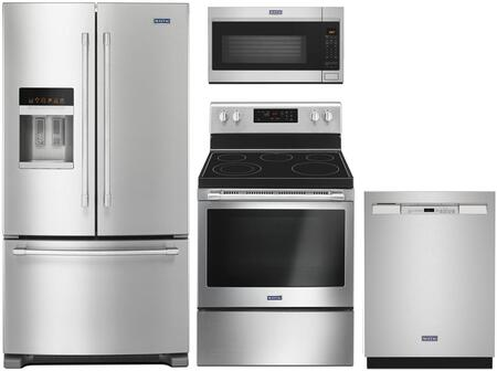 4 Piece Kitchen Appliances Package with MFI2570FEZ 36″ French Door Refrigerator  MER6600FZ 30″ Electric Range  MMV4207JZ 30″ Over the Range Microwave