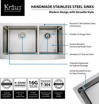 Kraus Precision KHF20336 Sink Stainless Steel, Features