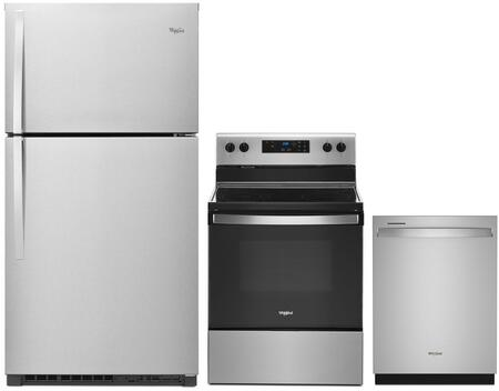 3 Piece Kitchen Appliances Package with WRT541SZDM 33″ Top Freezer Refrigerator  WFE320M0ES 30″ Electric Range and WDT970SAHZ 24″ Built In Fully