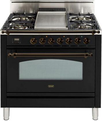 Ilve Nostalgie UPN90FDVGGNY Freestanding Gas Range Black, UPN90FDVGGNY Gas Range