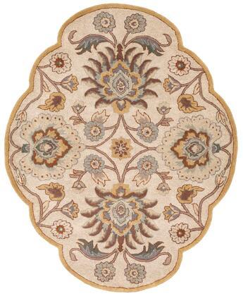 Caesar CAE-1012 5′ x 6'3″ Shaped Custom Shape Traditional Rugs in Medium Gray  Beige  Camel  Dark Brown  Taupe