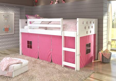 780A-TW-750C-TP 79″ Low Loft with Pink Colored Tent  Built in Ladder  Circle Cut Out Design Headboard and Footboard in