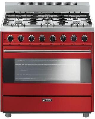 Smeg Classic C36GGRU Freestanding Gas Range Red, Smeg C36GGRU in Red