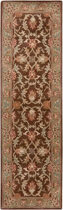 Caesar CAE-1009 2'6″ x 8′ Runner Traditional Rugs in Dark Brown  Camel  Burnt Orange  Khaki  Charcoal