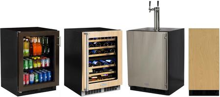4 Piece Kitchen Appliances Package with ML24BCF2LP 24″ Beverage Center  ML24BTP3LP 24″ Beer Dispenser  MP24WDF5RP 24″ Wine Cooler and ML15CLP2RP 15″
