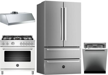 4 Piece Kitchen Appliances Package with REF36X 36″ French Door Refrigerator  MAST365DFMBIE 36″ Dual Fuel Range (Matte White)  KU36PRO1XV 36″ Wall