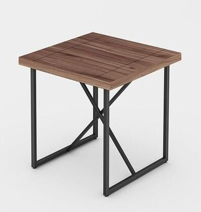 Signature Home Collection FT24IETW X-End Table with Textured  Powder Coated Metal Frame  Thick MDF Top and Easy Assembly in