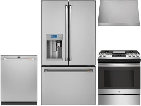 4 Piece Kitchen Appliances Package with CYE22UP2MS1 36″ French Door Refrigerator  CGB550P2MS1 30″ Gas Range  CVW93012MSS 30″ Wall Mount Ducted Hood