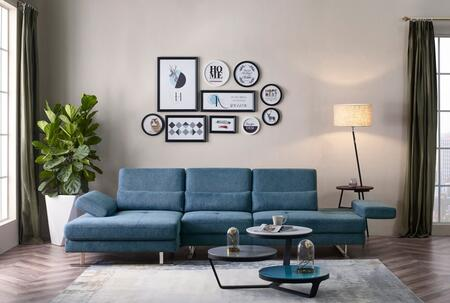 Divani Casa Denton Collection VGMB-1837B-BLU Sectional Sofa with Left Facing Chaise  Adjustable Armrests  Moveback Backrests  Lumbar Support Pillows