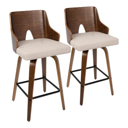 Ariana Collection B26-ARIAXWLBG2 Set of 2 Counter Height Stool with 360-Degree Swivel Seat  Mid-Century Modern Style  Foam Filled Cushion  Tapered