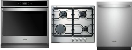 """3 Piece Kitchen Appliance Package with WCG52424AS 24"""""""" Gas Sealed Burner Cooktop  WOS51EC0HS 30"""""""" Electric Single Wall Oven and WDT730PAHZ 24"""""""" Built In Fully -  Whirlpool, 995891"""