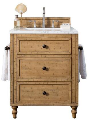 Copper Cove Collection 300-V26-DRP-3EJP 26″ Single Vanity Cabinet  Driftwood Patina  with 3 CM Eternal Jasmine Pearl Quartz Top with