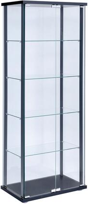 950170 Curio Cabinets Contemporary Curio Cabinet with 5 Tempered Glass Shelves  Metal Hardware and Solid Wooden Frame in Black