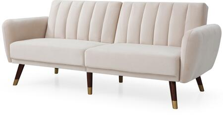 Siena Collection G0154-S 83″ Sofa Bed with Velvet Upholstery  Channel Tufting  Stitched Detailing and Wood Legs in