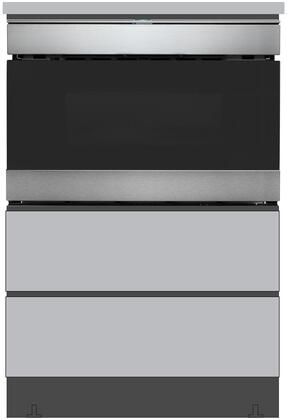 SMD2489ES 24″ Microwave Drawer with SKMD24U0ES 24″ Under the Counter Pedestal in Stainless