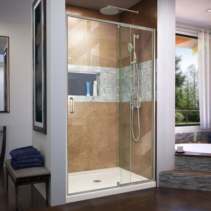 DL-6219C-22-04 Flex 32″ D x 42″ W x 74 3/4″ H Semi-Frameless Shower Door in Brushed Nickel with Center Drain Biscuit Base