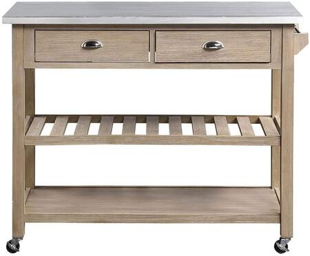 980520 Alex Kitchen Island Cart  in Distressed Natural Whitewash Acacia and Metal Zinc