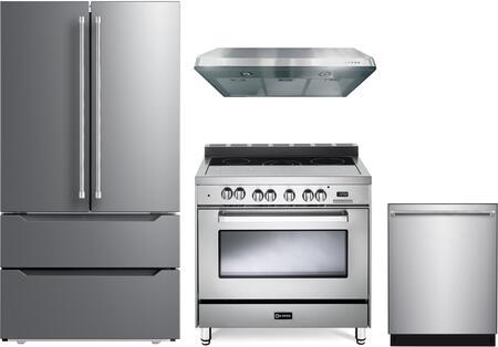 4 Piece Kitchen Appliances Package with VERF36CDSS 36″ French Door Refrigerator  VEFSEE365SS 36″ Electric Range  VEHOOD3610 36″ Under Cabinet Range