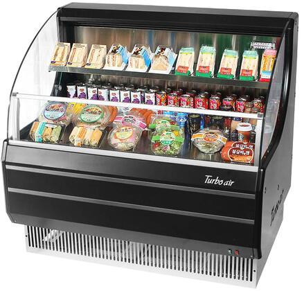 Turbo Air TOM40LBN Display and Merchandising Refrigerator Black, TOM40LBN Angled View
