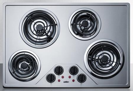 ADA Compliant in Stainless Steel 30 Inch Electric Coil Style Cooktop with 4 Elements
