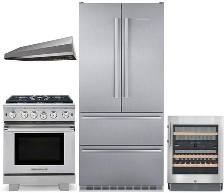"""4 Piece Kitchen Appliances Package with CS2082 36"""" French Door Refrigerator ARR530N 30"""" Gas Range MAES3010SS600B 30"""" Under Cabinet Convertible Hood"""