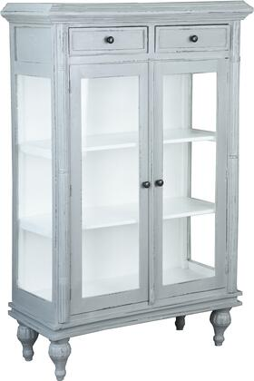 CC-CAB1290TLD-AGWW Curio Cabinet with Distress Details  Glass Door  Simple Pull  Decorative Hardware  Storage Drawers and Wood Construction  in