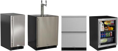 4 Piece Kitchen Appliances Package with MA24BRG3LS 24″ Compact Refrigerator  ML24BTS2RS 24″ Beer Dispenser  ML24RDS3NS 24″ Counter Depth Refrigerator